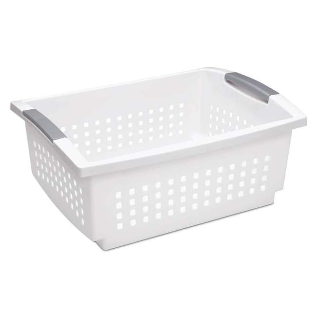 24 x 16648006-U-A Sterilite Large White Stacking Basket with Titanium Accents (Open Box)(24 Pack)