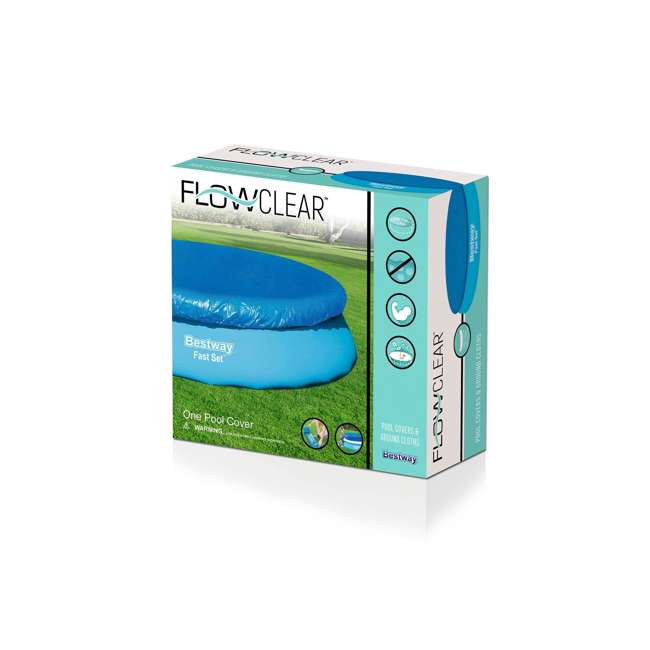 58034E-BW-U-A Bestway Flowclear Fast Set 12-Foot Round Pool Cover, Blue |  (Open Box) (2 Pack) 3
