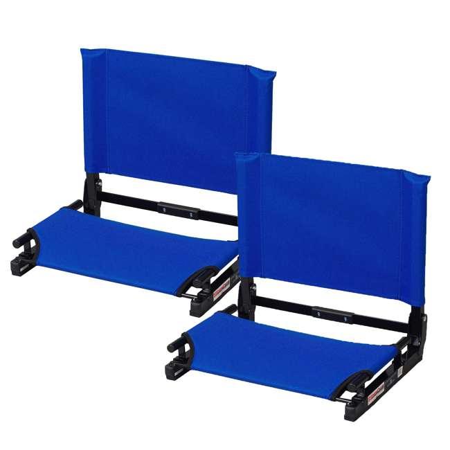 SC2-ROYAL Stadium Chair Game Changer Bleacher Seat, Royal Blue (2 Pack)