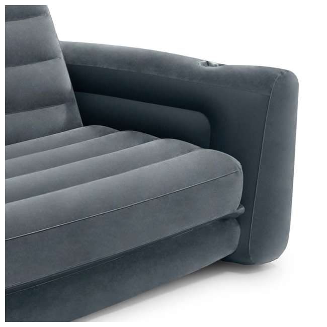 66552EP Intex Queen Size Pull Out Sofa Bed Sleep Away Futon Inflatable Couch, Dark Gray 2