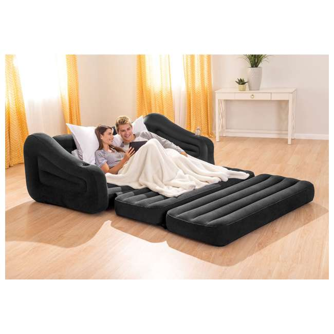 68566EP Intex Inflatable Queen Size Pull Out Futon Sofa Couch Sleep Away Bed, Dark Gray 4