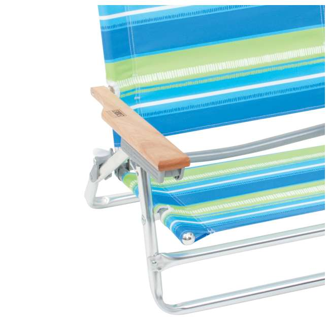 ASC590-1704-1 Rio Classic 5 Position Aluminum Lay Flat Folding Beach Lounge Chair, Sea Stripes 2