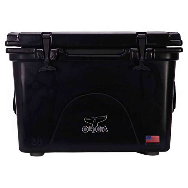 ORCBK058 Orca ORCBK058 58 Quart 72 Can Roto Molded Insulated Outdoor Ice Cooler, Black