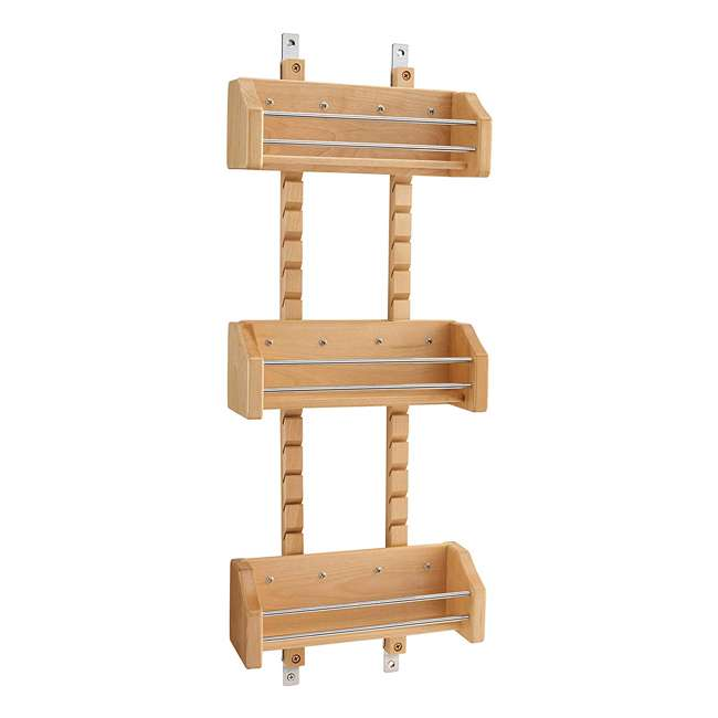 4ASR-15 Rev-A-Shelf 4ASR-15 Small Cabinet Door Mount Wood Adjustable 3-Shelf Spice Rack