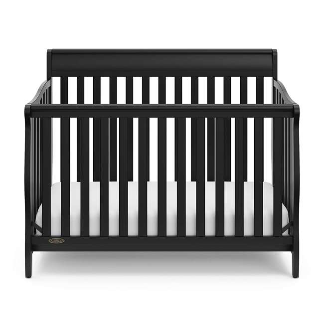 04530-66B + 06711-300 Graco Stanton 4-in-1 Convertible Crib in Black w/ Foam Mattress 2