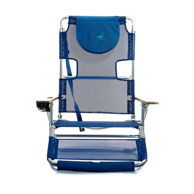 3N1-1001B-U-B Ostrich 3 N 1 Aluminum Frame 5 Position Reclining Beach Chair, Blue (Used) 1