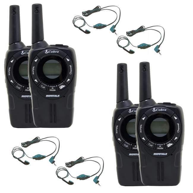 CXT235-2 + 2 x GA-EBM2-BULK Cobra CXT225 20 Mile Gmrs/frs 2-Way Radio Walkie Talkies (2 Pairs) + Headsets (4)