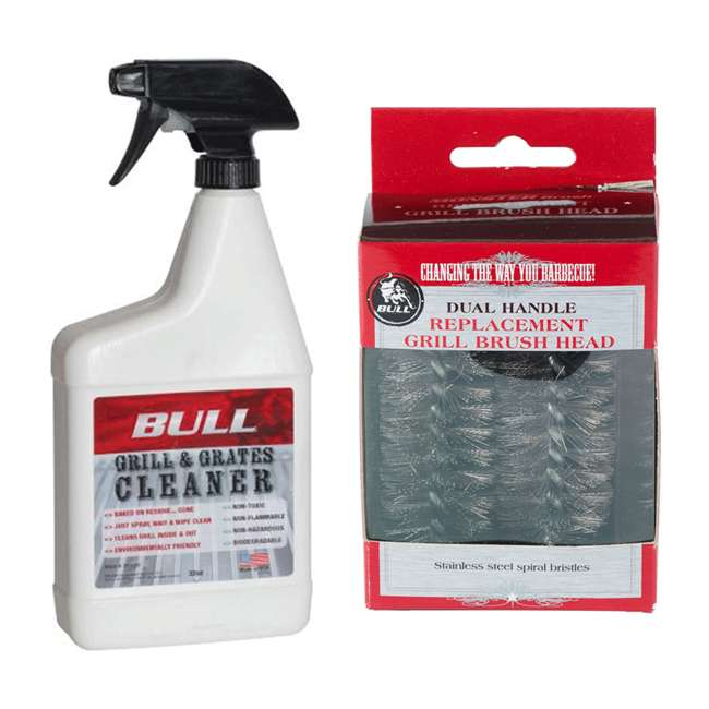BOPA-25160 + BOPA-24239 Bull Barbecue Grill Cleaner Spray & Wire Brush Replacement Head