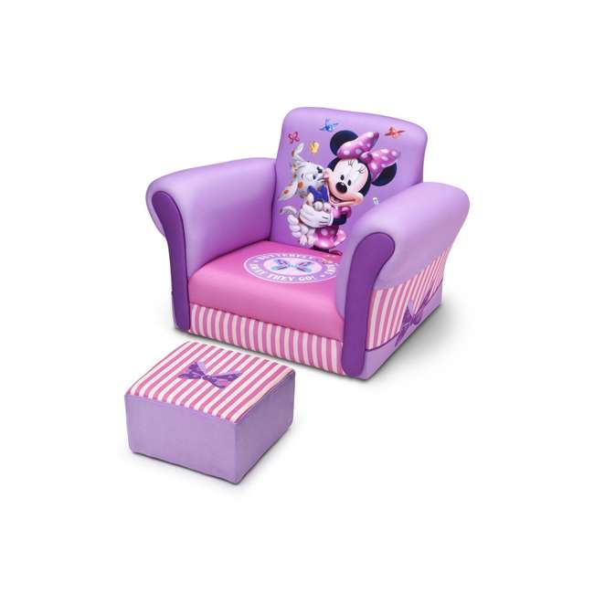 UP85811MN-1058 Delta Children Kids Minnie Mouse Upholstered Lounge Chair Armchair with Footrest 1