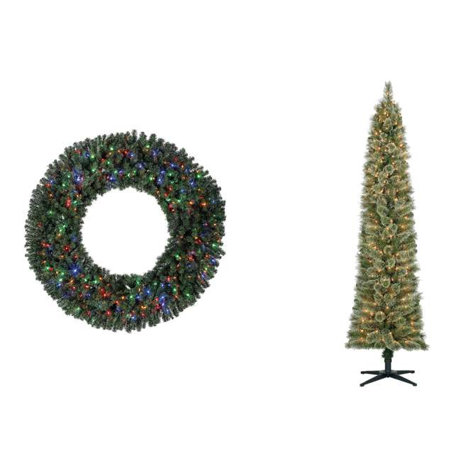 GD5000CYKD00 + TV70M2638C01 Home Heritage 60 Inch Christmas Wreath + 7' Pencil Artificial Christmas Tree