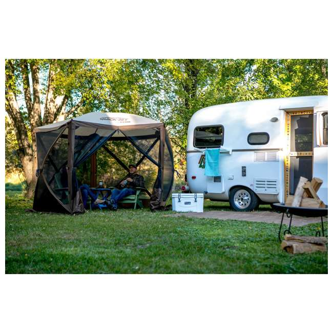 CLAM-VT-12875-U-B Clam QuickSet Venture Portable Camping Gazebo Canopy Shelter, Brown (Used) 2
