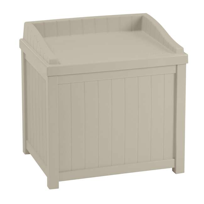 SS1000 Suncast 22-Gallon Outdoor Deck Box with Seat, Light Taupe (2 Pack) 1