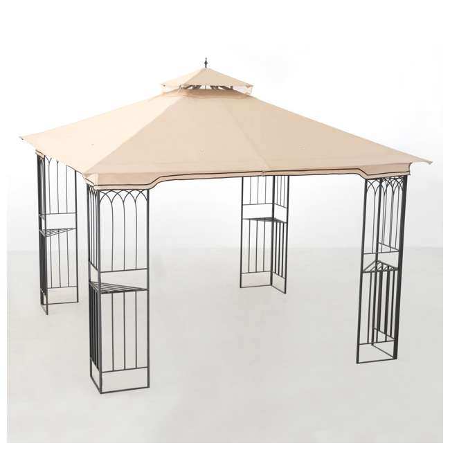 110101009 Sunjoy 10 x 10 Foot Backyard Outdoor Fence AIM Gazebo Canopy, Beige 8