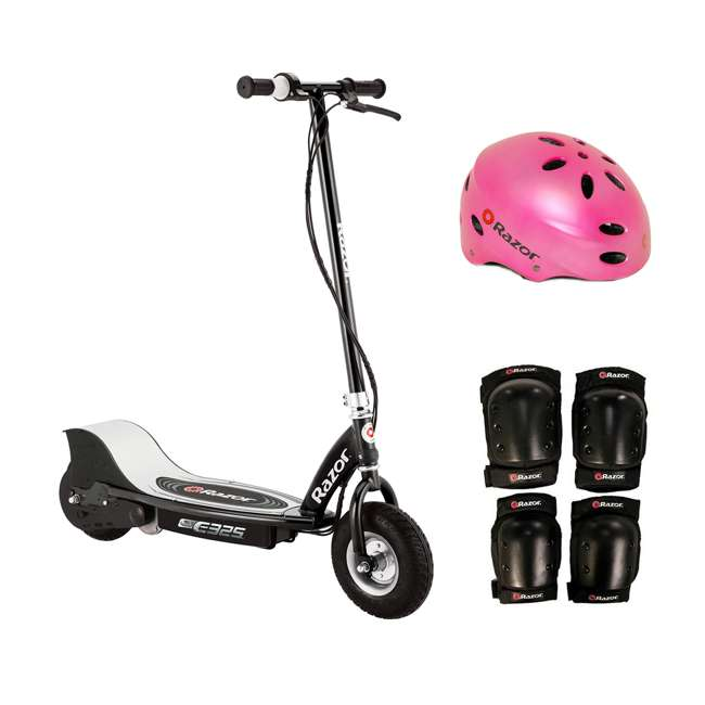 13116397 + 97783 + 96784 Razor E325 Electric Motorized Scooter, With Youth Helmet, Elbow & Knee Pad Set