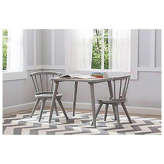 531300-026-U-A Delta Children Windsor Home Dining Table and 2 Chair Play Set, Grey (Open Box) 3