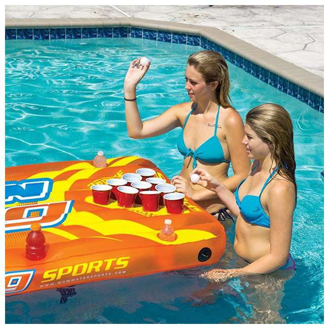 """15-2020 WOW Watersports Durable 16"""" Inflatable Pool Floating Water Pong Table Game, Red 4"""