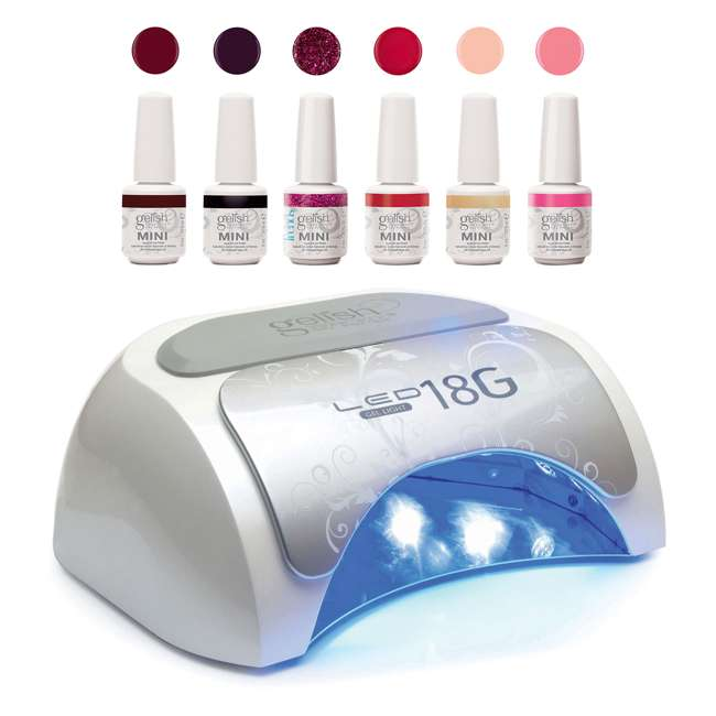 US01379-18GLAMP + 1900209-2020P3 Gelish Nail Polish Dryer LED Lamp & Forever Fabulous Soak Off Gel Polish Set