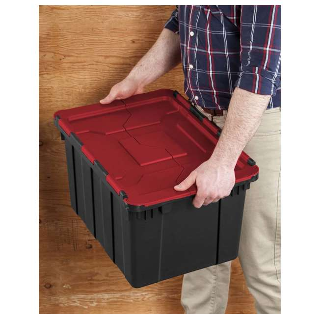 18 x 14619006 Sterilite 12 Gallon/45 Liter Hinged Lid Tote, Red Lid (Open Box) (18 Pack) 1