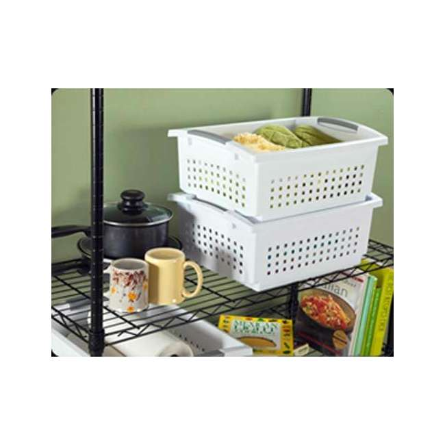 24 x 16648006-U-A Sterilite Large White Stacking Basket with Titanium Accents (Open Box)(24 Pack) 2