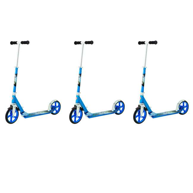 3 x 13013240 Razor A5 Lux Folding Kick Scooter, Blue (3 Pack)