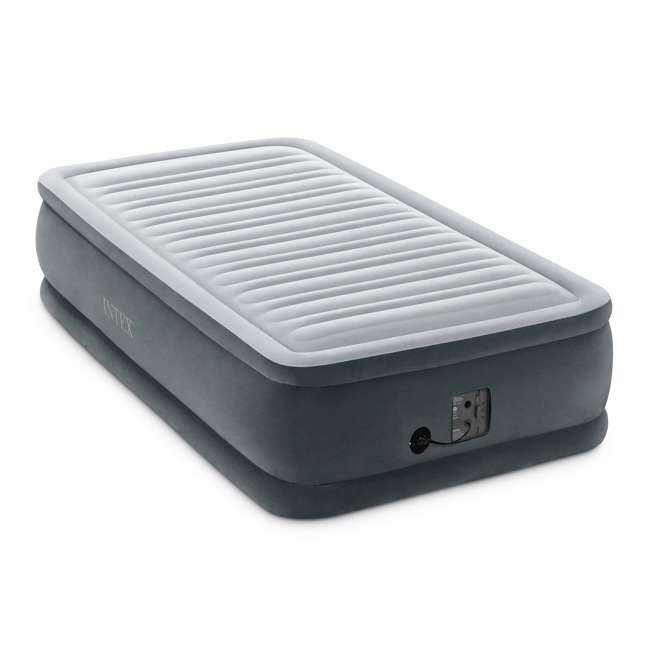 64411EP-U-A Intex Dura Beam Plus Series Elevated Airbed w/ Built in Pump, Twin (Open Box) 1
