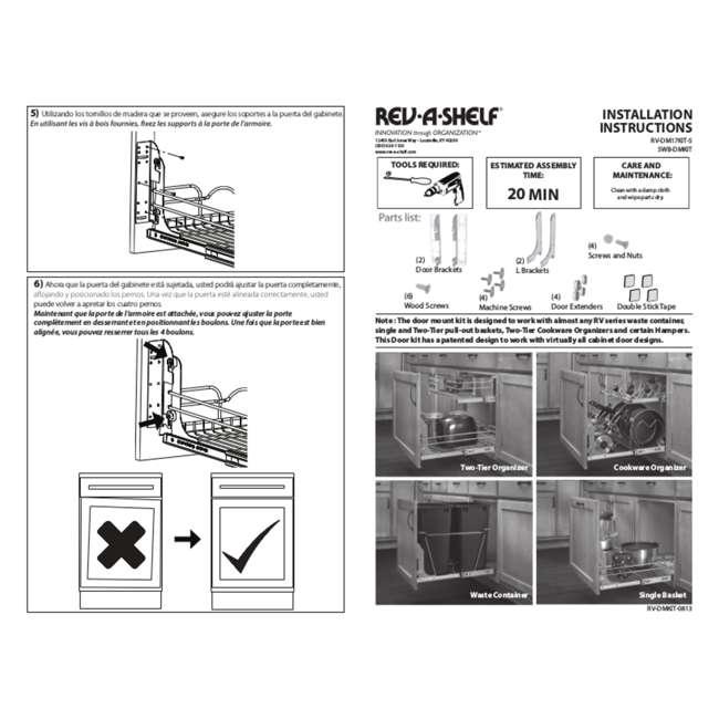 RV DM KIT Rev-A-Shelf RV DM KIT Door Mounting Kit for RV Series Waste Containers, White 4