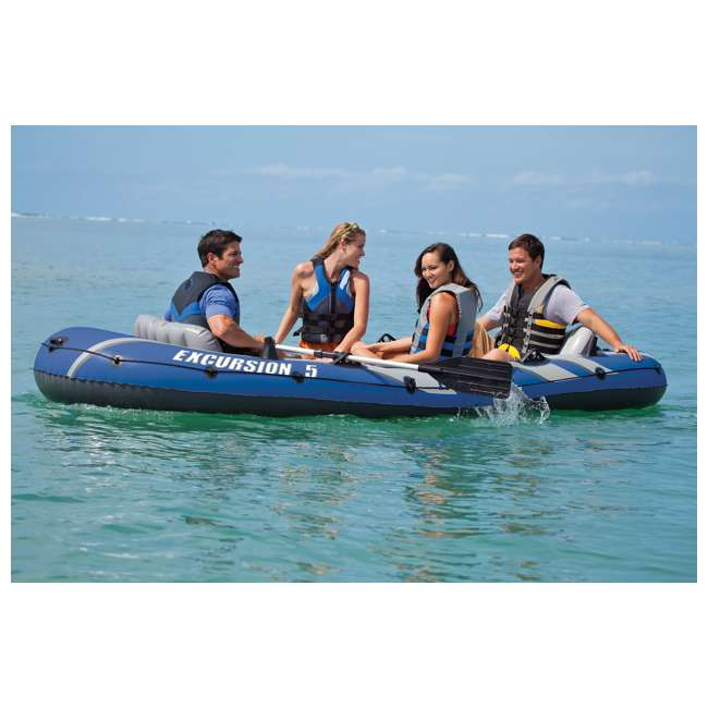 3 x 68325VM-U-A Intex Excursion 5 Person Inflatable Fishing Boat Set w/ Oars & Pump (Open Box) (3 pack) 1