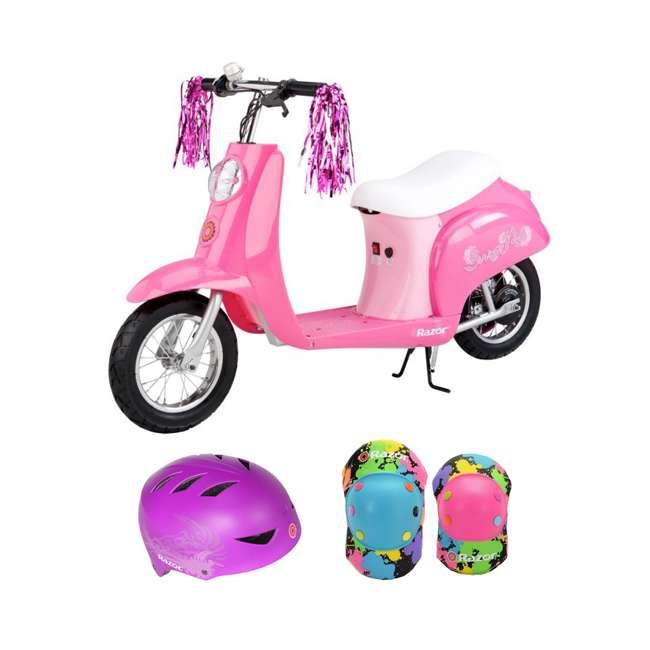 15130659 + 97913 + 96761 Razor Pocket Mod Mini Electric Scooter, Pink w/ Rainbow Helmet & Elbow/Knee Pads