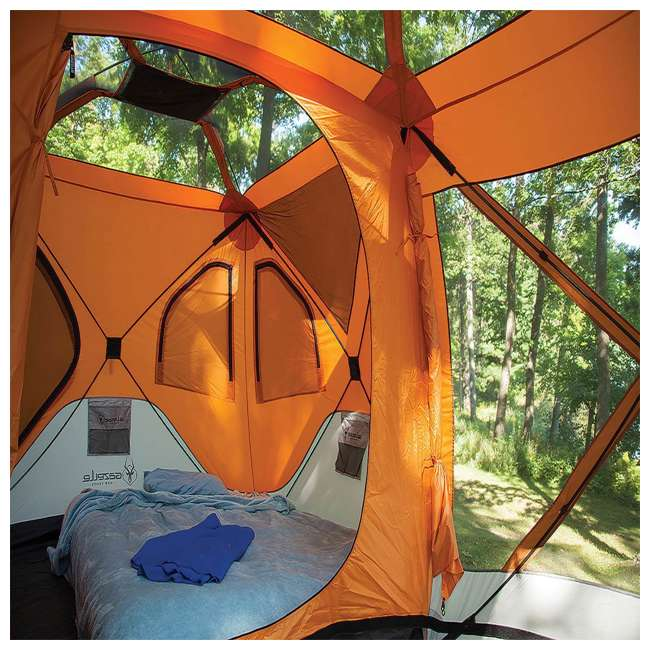 GAZL-26800-U-B Gazelle Tents T4 Plus Outdoor Pop Up 8 Person Hub Tent with Screen Room, Orange 4