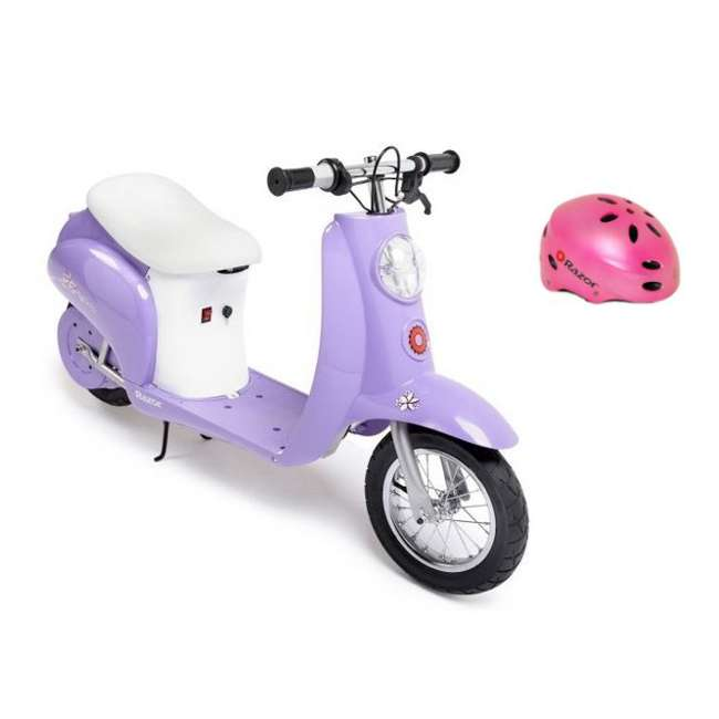 15130661 + 97783 Razor Pocket Mod Electric Retro Scooter, Purple & Helmet