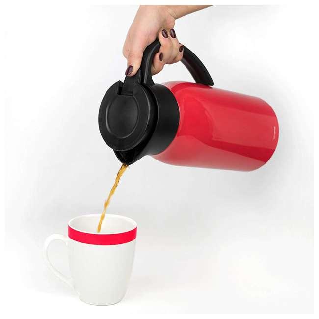 VRM020036N Vremi Carafe Commander 1.5 Liter Insulated Hot Beverage Tea & Coffee Carafe, Red 1