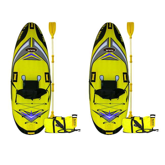 2365-RV RAVE Sports 1-person Sea Rebel Inflatable Kayak, Yellow  (2 Pack)