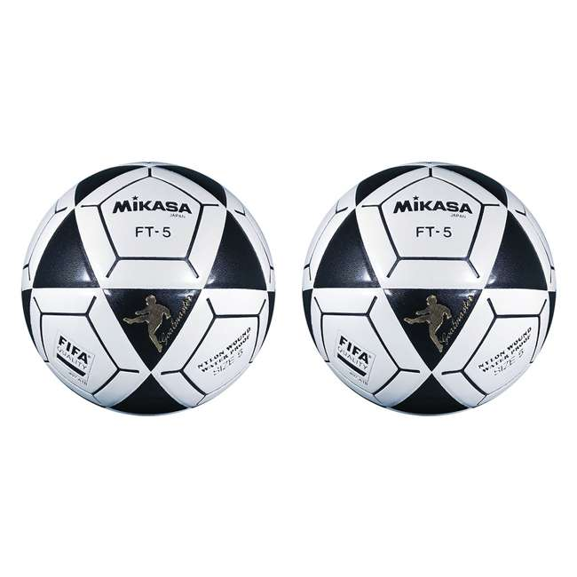 FT5A Mikasa USA Size 5 Foot Volley Soccer Ball, Black & White (2 Pack)