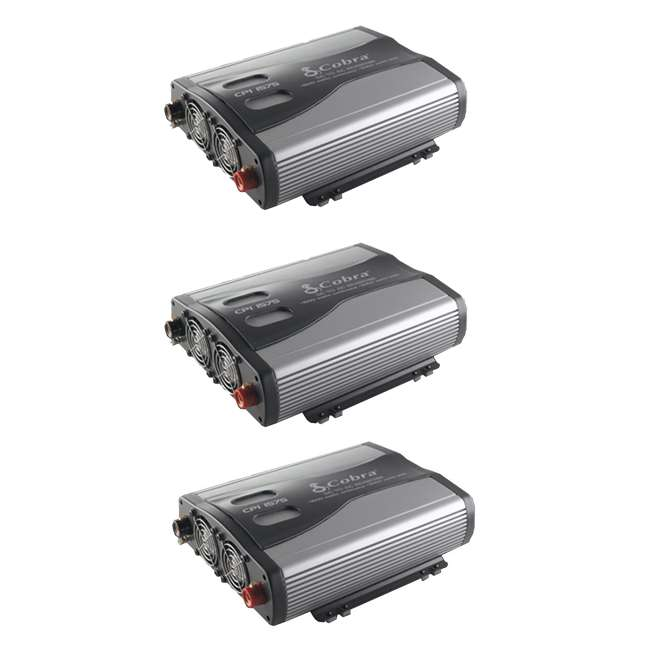3 x CPI1575 Cobra 1500W 12-Volt DC to 120-Volt AC Car Power Inverter, 3 Outlets and USB (3 Pack)