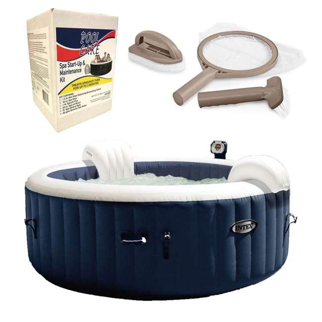 28405E + 28004E + QLC-14890 Intex Pure Spa 4-Person Home Inflatable Hot Tub, Accessory Kit, & Chemical Kit