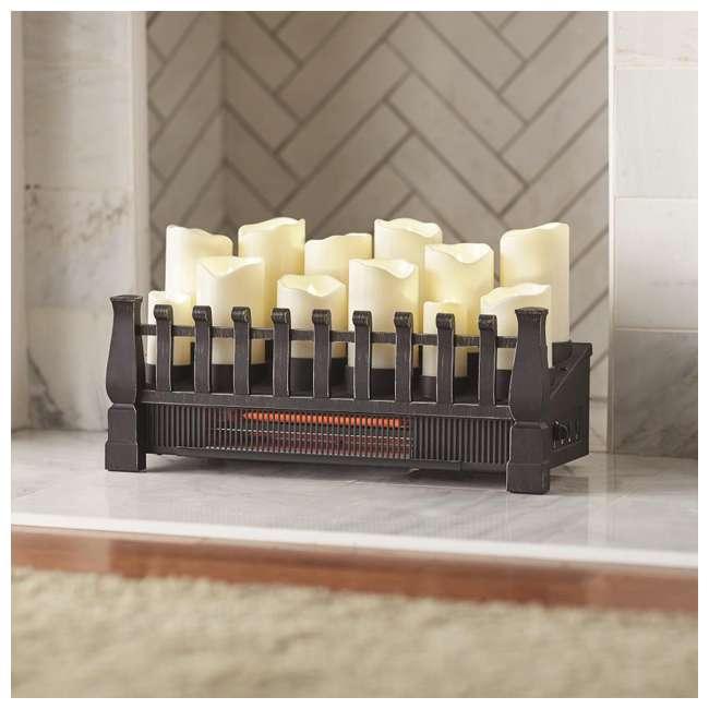 DFI030ARU-06 Duraflame 1500 Watt 5200 BTU Electric Infrared Heat Candle Logset Heater, Black 1