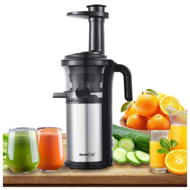 GPB30 + GSC36 Geek Chef 10Oz Portable Cordless Rechargeable Blender & Electric Juice Extractor 8