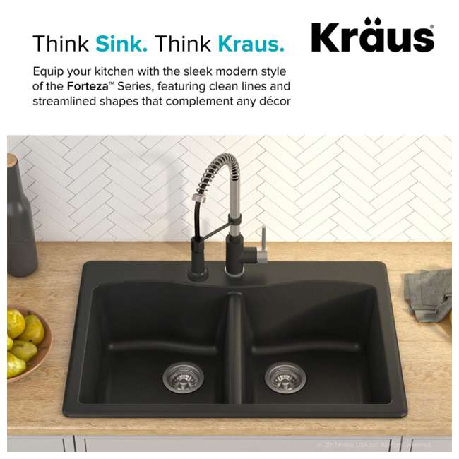 KGD-52BLACK Kraus Forteza 33-Inch Dual-Mount 50/50 Double Bowl Granite Kitchen Sink, Black 2