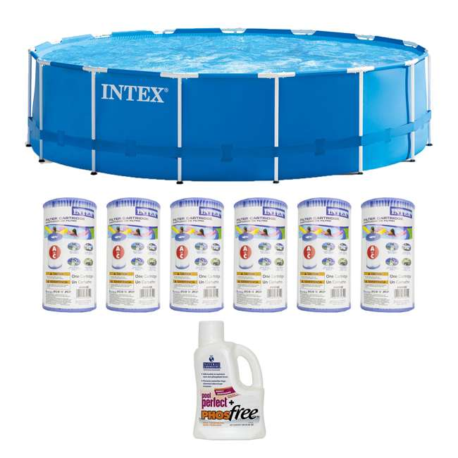 """28241EH + 6 x 29000E + NC-05131 Intex 15' x 48"""" Pool Set with 6 Filter Cartridges + Natural Chemistry PHOSfree"""