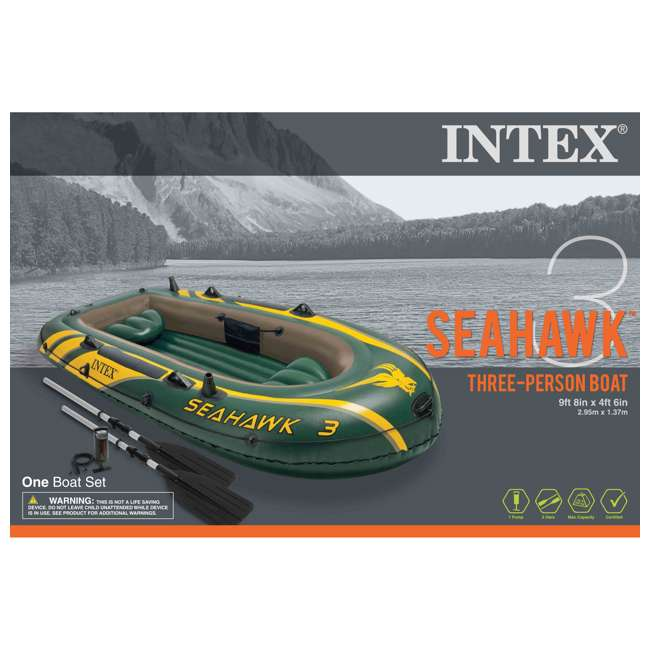 68380EP + 2 x 68631E Intex Seahawk 3 Inflatable raft Set and 2 Trolling Motors 4