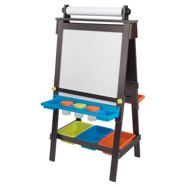 62043 KidKraft Kids Chalkboard & Whiteboard Art Easel with Paper Roll, Espresso