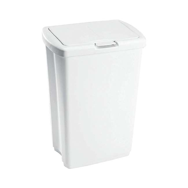 4 x FG233900WHT Rubbermaid 13.25 Gallon Rectangular Spring-Top Lid Wastebasket, White (4-Pack) 1