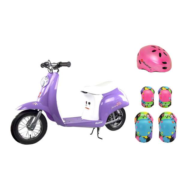 15130661 + 97783 + 96761 Razor Pocket Mod Mini Euro 24V Electric Kids Ride On Scooter w/ Helmet and Pads