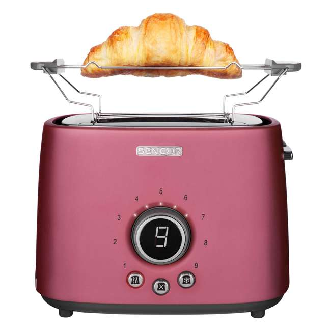 STS6054RD-NAA1 Sencor STS 6054RD Electric Wide 2 Slice High Lift Toaster w/ Rack, Metallic Red 3