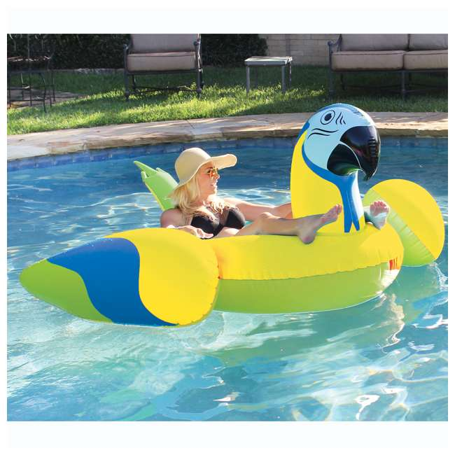 2183246-MW Margaritaville Rideable Parrot Inflatable Float, Yellow (2 Pack) 3