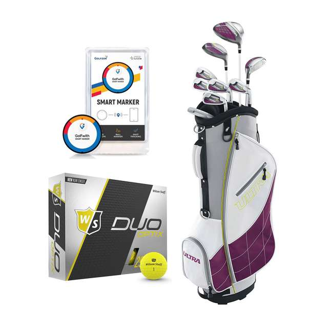 WGGC43400 + WGWP40150 + PGSMGps Wilson Womens Club Set w/Bag, Low Compression Golf Balls, Distance Tracker