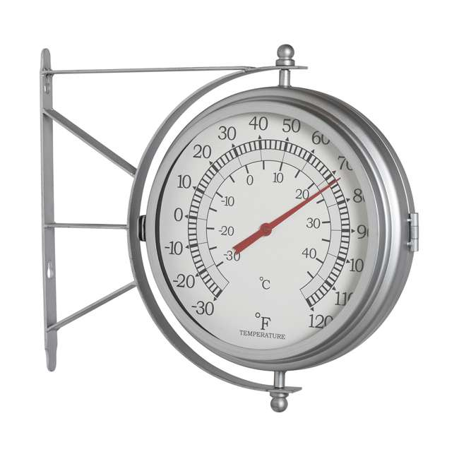 73013 Studio Designs Metro Station 18 Inch Dual Face Clock and Thermometer, Silver 1