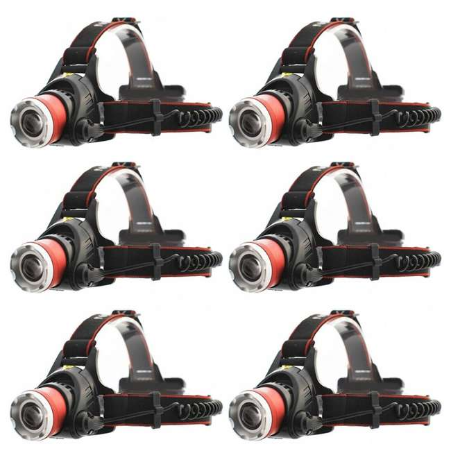 6 x MXN00621 Maxxeon 621 WorkStar Micro USB Rechargeable LED Work Headlamp, Red (6 Pack)