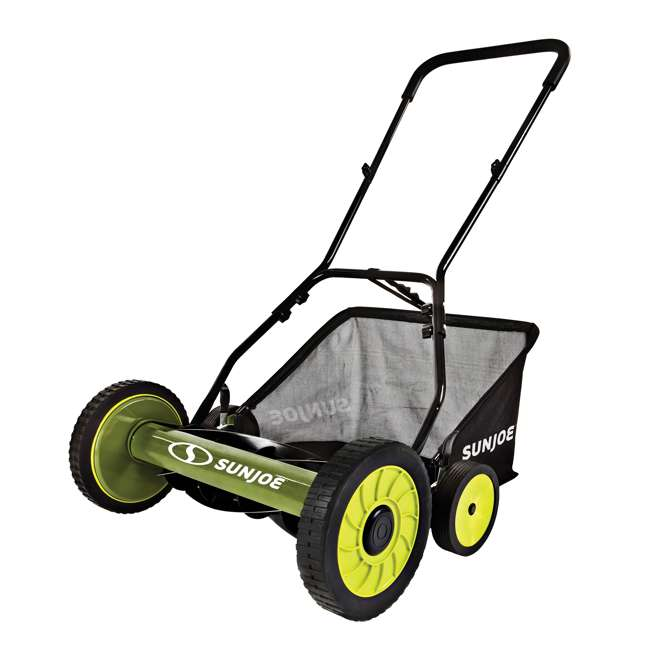 "SUJ-MJ501M-U-B Sun Joe Manual Reel 18"" Push Behind Lawn Mower w/ Grass Catcher, Green (Used)"