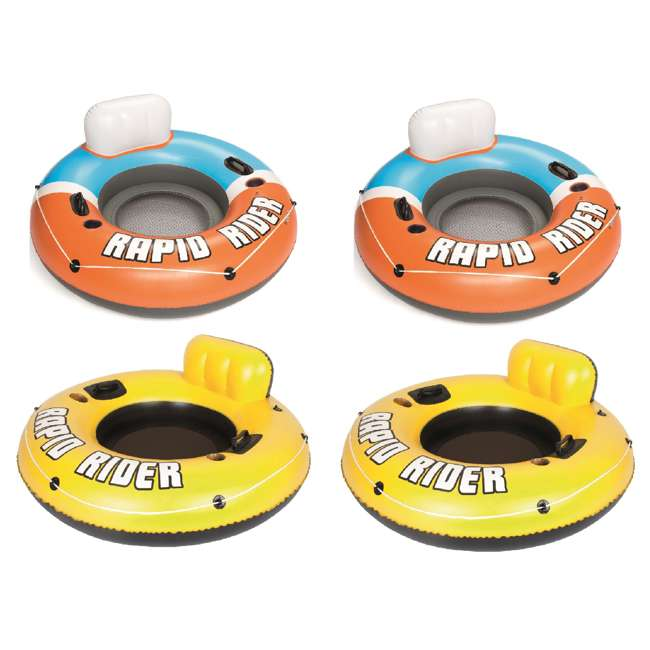 """43116E-BW-NEW + 2 x 43116E-BW Bestway Rapid Rider River Tube Float (2 Pack), 53"""" Inflatable River Raft(2 Pack)"""